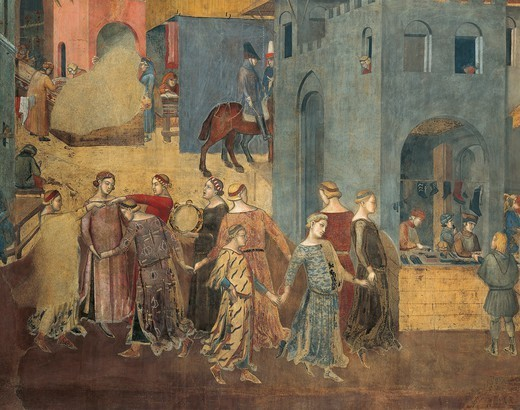Stock Photo: 1788-48779 Effects of Good Government in the city, procession of women dancing, detail from the Allegory and effects of good and bad government in town and country, 1337-1343, by Ambrogio Lorenzetti (active 1285-1348), fresco. Hall of Peace, Palazzo Publico, Siena.