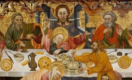 Stock Photo: 1788-48787 The Last Supper, by Jaume Ferrer the Elder (active ca 1400-1433), panel. Detail.