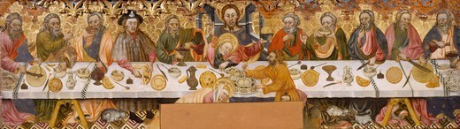 The Last Supper, by Jaume Ferrer the Elder (active ca 1400-1433), panel. : Stock Photo
