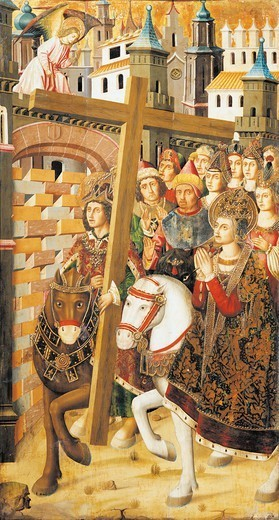 St Helena and the Emperor Heraclitus with the Holy Cross at the gates of Jerusalem, detail from the Altarpiece of the Holy Cross from Blesa, 1485-1487, by Miguel Jimenez (active from 1466-died 1505) and Martin Bernat (ca 1440 - ca 1497). : Stock Photo