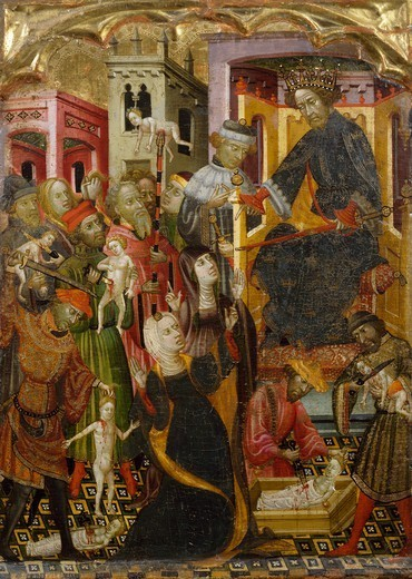 The massacre of the innocents, 15th century, by an unknown Spanish artist. : Stock Photo