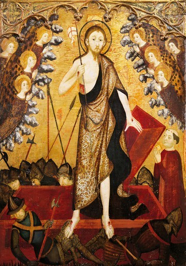 Resurrection of Christ, the panel from the Altarpiece of the Holy Sepulchre, 1381-1382, by Jaime Serra (active 1358-1395), tempera on wood, 138x115 cm. : Stock Photo