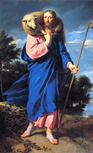 Stock Photo: 1788-48798 The Good Shepherd, by Philippe de Champaigne (1602-1674), oil on canvas.