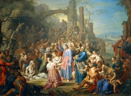 Raising of Lazarus, ca 1750 by Franz Christoph Janneck (1703-1761). : Stock Photo