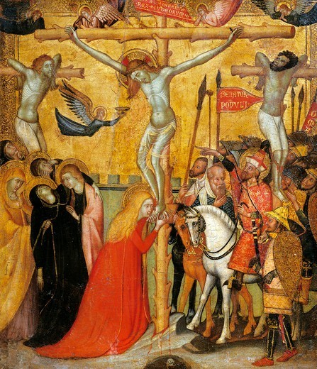 Stock Photo: 1788-48801 Calvary, by an unknown artist of the Sienese School, 15th century.