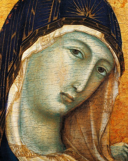 Madonna with Child and six Angels, 1300-1305, by Duccio di Buoninsegna (ca 1255 - pre-1319), tempera on wood, 97x93 cm. Detail. : Stock Photo