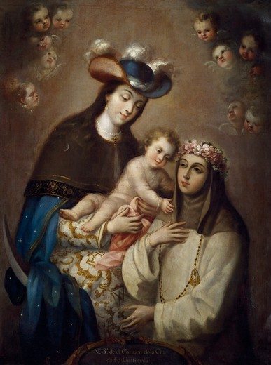 Stock Photo: 1788-48819 The Virgin of Carmen of Guatemala and Santa Rosa of Lima, by Jose de Ibarra (1688-1756).