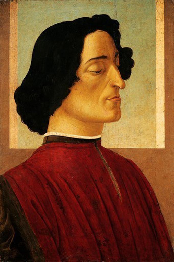 Portrait of Giuliano de Medici, ca 1478-1480, by Sandro Botticelli (1445-1510), tempera on wood, 54x36 cm. : Stock Photo