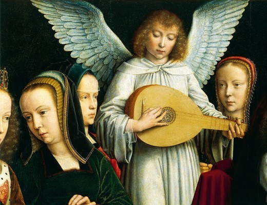 Stock Photo: 1788-48875 Angel Musician, detail from The Virgin among the Virgins, 1450, by Gerard David (ca 1460-1523), oil on canvas, 120x213 cm.
