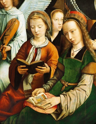 Stock Photo: 1788-48876 Saint Barbara and Saint Cecilia reading, detail from The Virgin among the Virgins, 1460, by Gerard David (ca 1460-1523), oil on canvas, 120x213 cm.