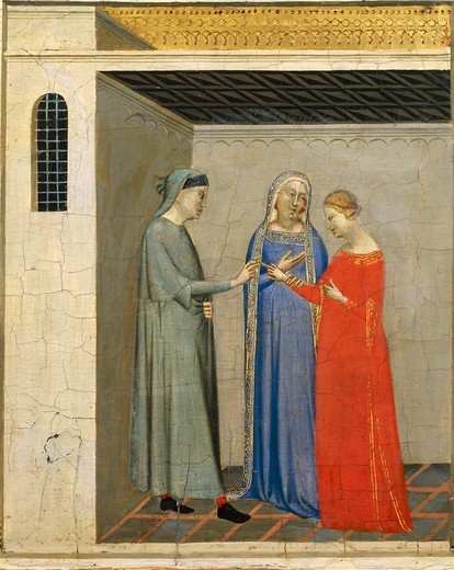 Stock Photo: 1788-48885 Predella with Stories of the Sacra Cintola (Sacred Belt): consenting to the engagement, by Bernardo Daddi (1290-1348).