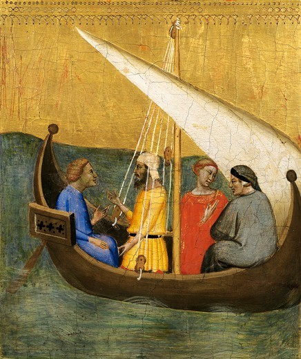 Boat trip, detail of the predella showing Stories of the Sacra Cintola, by Bernardo Daddi (1290-1348). : Stock Photo
