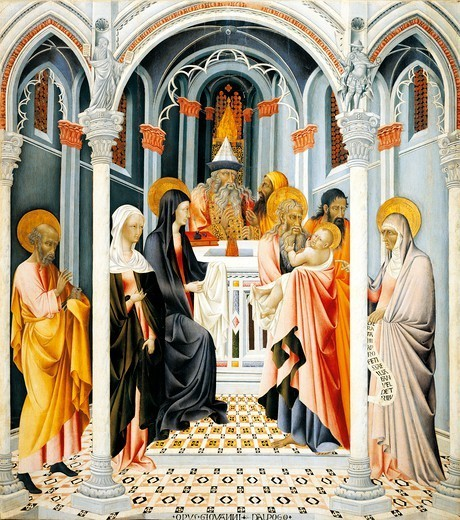 Stock Photo: 1788-48895 Presentation by Jesus in the temple, by Giovanni di Paolo (ca 1403-1482).