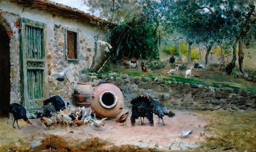 Stock Photo: 1788-49014 In the farmyard, 1880-1881, by Giovanni Muzzioli (1854-1894), oil on panel, 24x40 cm.
