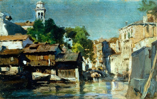 Stock Photo: 1788-49055 Venice, squero (boatyard) of San Trovaso, 1885-1890, by Federico Andreotti (1847-1930), oil on panel, 9x15 cm.
