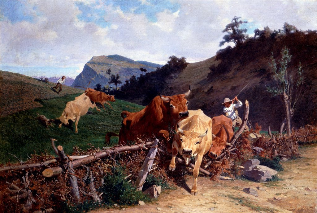Stock Photo: 1788-49138 A badly fenced field, 1870, by Stefano Bruzzi (1835-1911), oil on canvas, 70x102 cm.