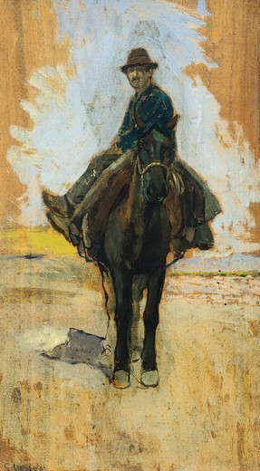 Stock Photo: 1788-49218 Cowboy, 1910-1920, by Guglielmo Micheli (1866-1926). Oil on panel, 45.5x25.5 cm.