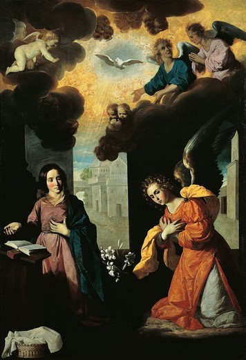 Stock Photo: 1788-49242 The Annunciation, 1638, by Francisco de Zurbaran (1598-1664), oil on canvas, 261x175 cm.