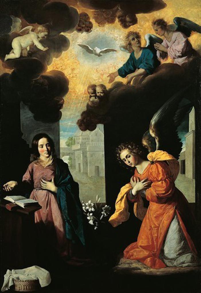 The Annunciation, 1638, by Francisco de Zurbaran (1598-1664), oil on canvas, 261x175 cm. : Stock Photo