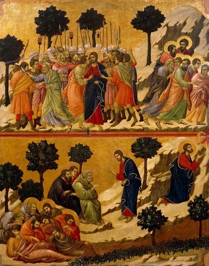 Stock Photo: 1788-49245 The Kiss of Judas, and the Prayer on the Mount of Olives, detail of a tile from the Episodes from Christ's Passion and Resurrection, the reverse surface of the Maesta' of Duccio Altarpiece in the Cathedral of Siena, 1308-1311, by Duccio di Buoninsegna (ca 1255 - pre-1319), tempera wood.