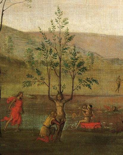 Stock Photo: 1788-49252 The tree-woman, detail of the Struggle between Love and Chastity, 1503-1505, by Pietro Perugino (ca 1450-1523), tempera on canvas, 160x191 cm.