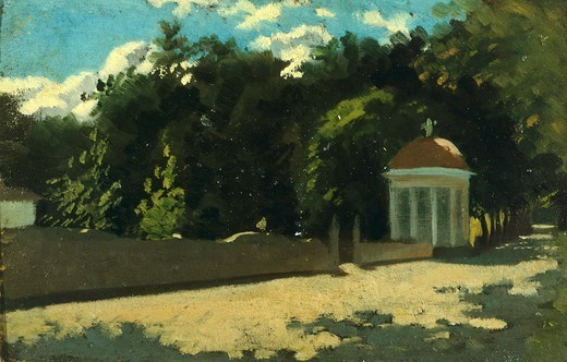 Stock Photo: 1788-49319 Small dome at the Cascine Park, by Raffaello Sernesi (1838-1866).
