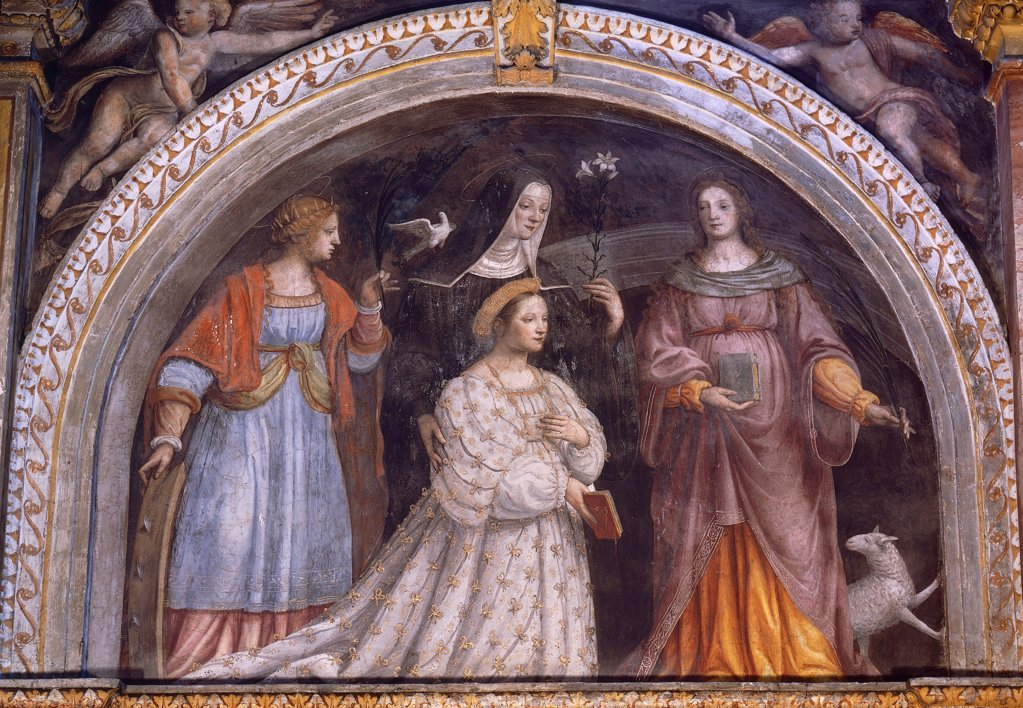 Stock Photo: 1788-49345 Ginevra Bentivoglio Sforza taking the veil, 1521-1523, by Bernardino Luini (1480-1532), fresco. Church of Saint Maurice al Monastero Maggiore, lunette on the side of the altar, Milan.