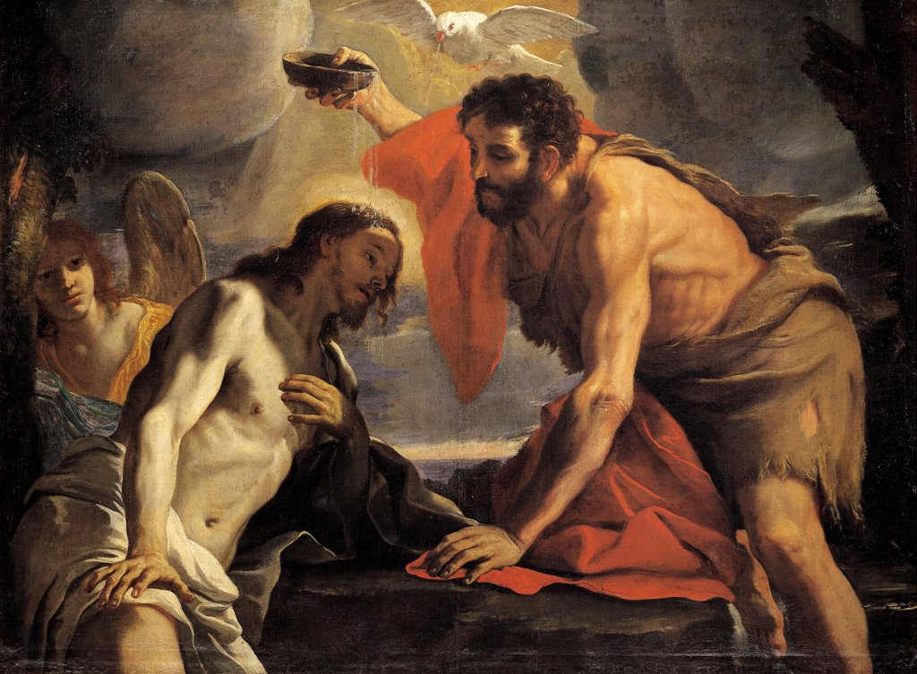 Stock Photo: 1788-49363 The Baptism of Christ, by Mattia Preti (1613-1699).