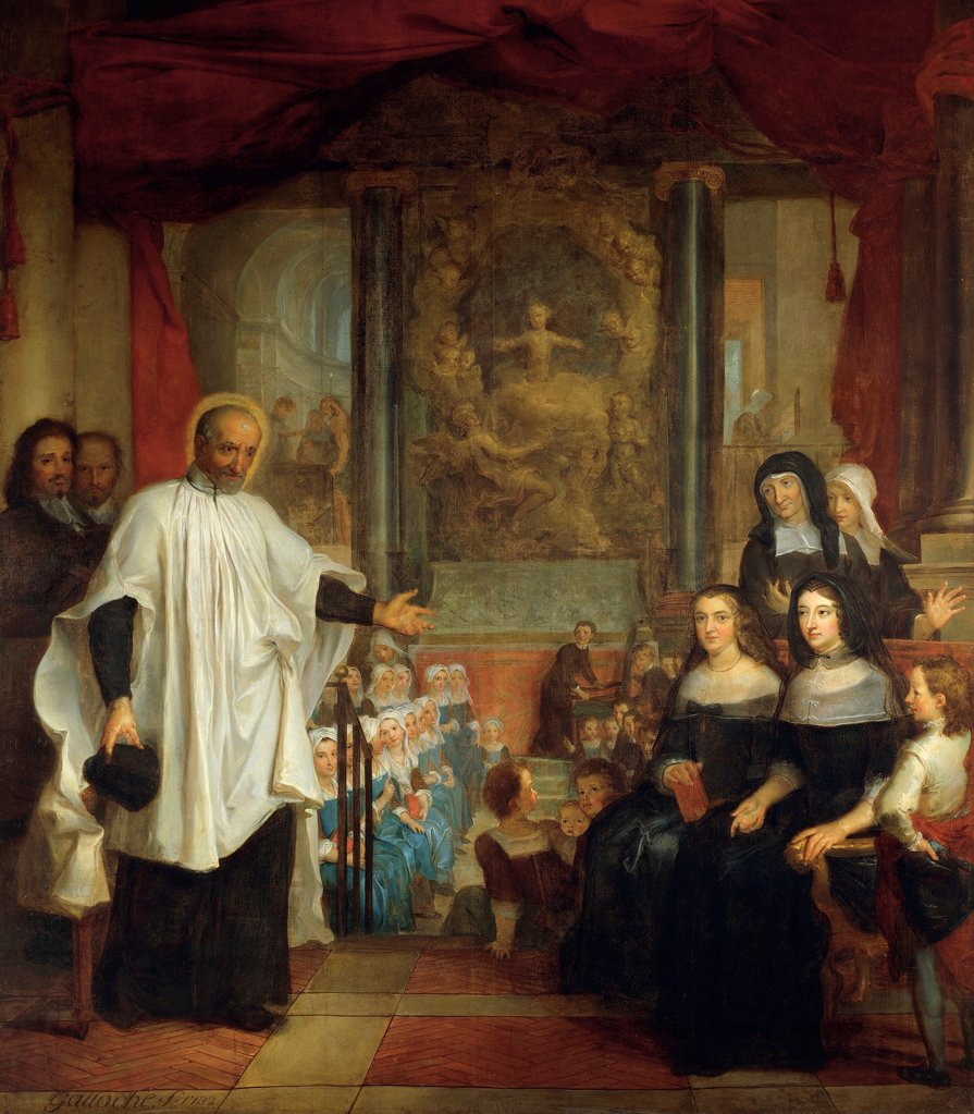 St Vincent de Paul in front of the ladies of charity, he founded the institution for foundlings, 1732, by Louis Galloche (1670-1761), oil on canvas. St Marguerite Church, Paris. : Stock Photo