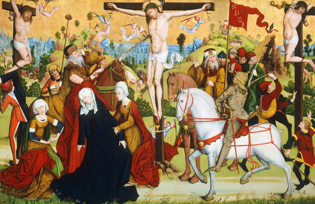 Calvary, 15th century, by the Master of the Death of St Nicholas of Muenster, oil on panel. : Stock Photo