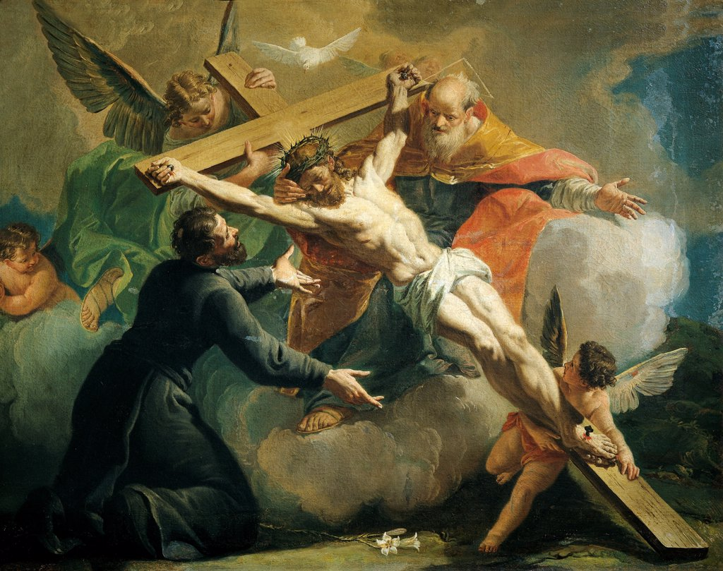 Stock Photo: 1788-49376 Crucifixion with God the Father and Saint Ignatius of Loyola, by Francesco Fontebasso (1709-1769).