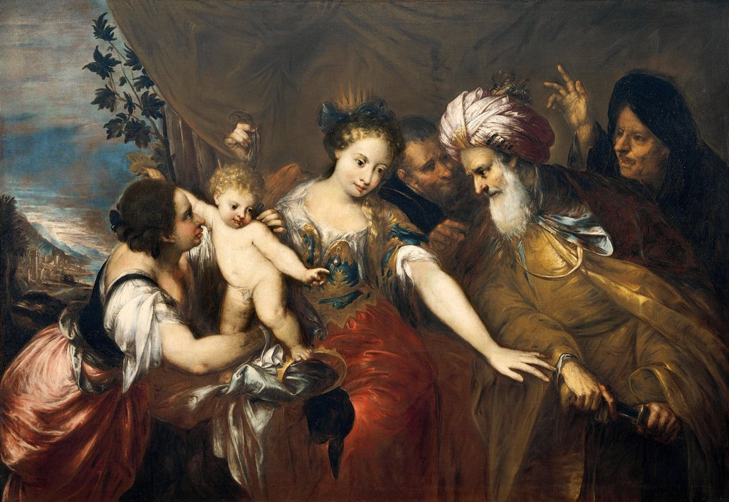 Stock Photo: 1788-49378 Baby Moses stamping on the Pharaoh's crown, by Andrea Celesti (1637-1712), oil on canvas, 198x136 cm.