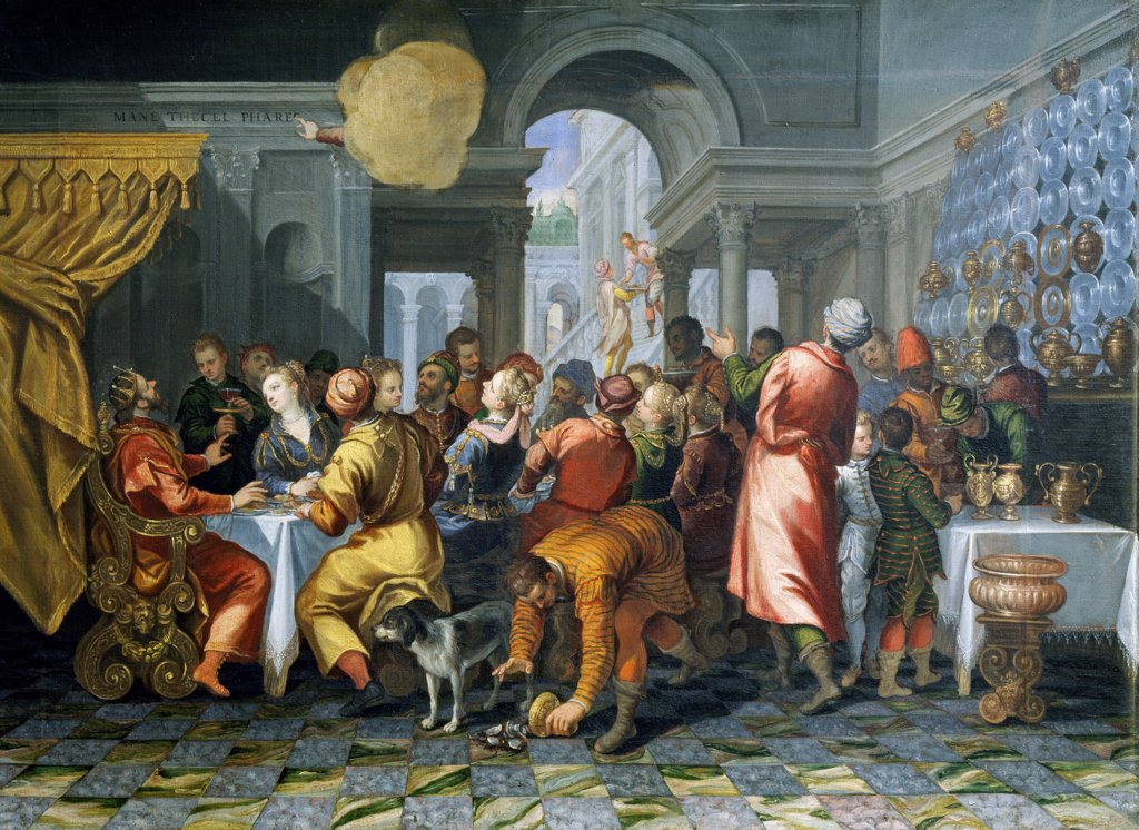 The feast of Belshazzar, by Francesco Ricchino (ca 1516-after 1568), oil on canvas, 140x96 cm. : Stock Photo