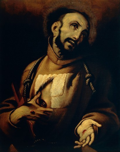 Stock Photo: 1788-49393 Ecstasy of St Francis, the 17th century, artist of the Lombard school, oil on canvas, 85x64 cm.