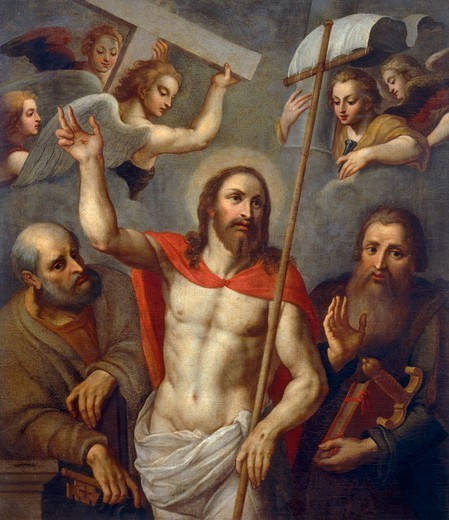 Risen Christ between Saints Peter and Paul, 16th century, artist from the Lombard school, oil on canvas, 138x120 cm. : Stock Photo