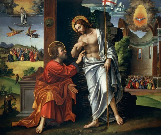 Christ and Doubting Thomas, by Paolo Cavazzola (1486-1522). : Stock Photo
