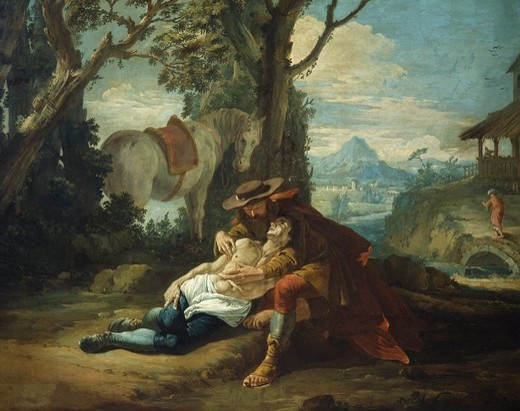 The Good Samaritan, by Francesco Fontebasso (1707-1769), oil on canvas. : Stock Photo