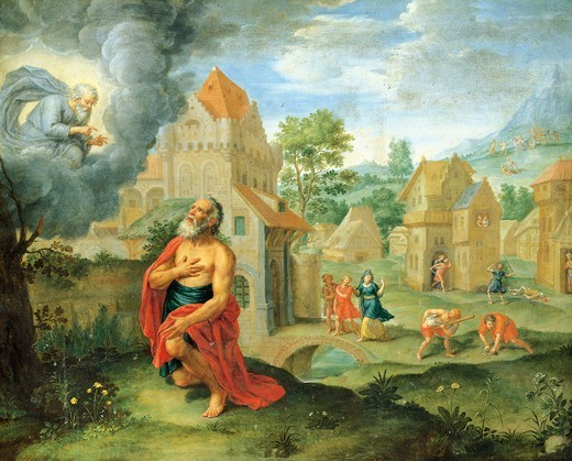 God warning Noah about the flood, 17th century, Flemish painting, painting on copper. : Stock Photo