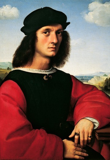 Stock Photo: 1788-49472 Portrait of Agnolo Doni, ca 1506, by Raphael Sanzio (1483-1520), oil on wood, 63x45 cm.