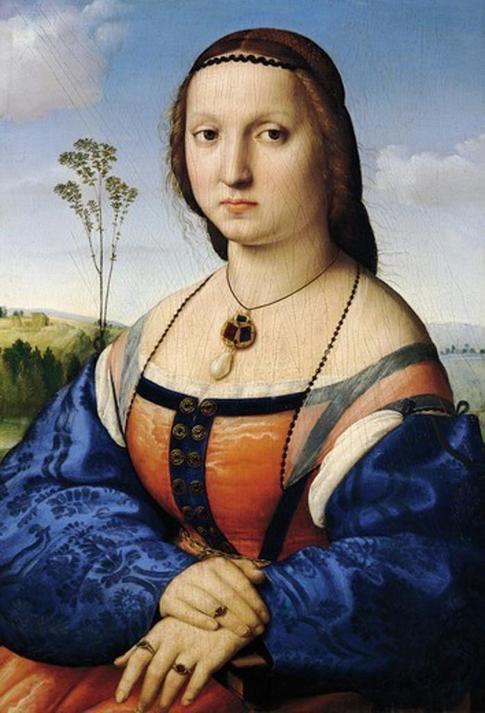 Stock Photo: 1788-49473 Portrait of Maddalena Doni, 1506, by Raphael Sanzio (1483-1520), oil on wood, 63x45 cm.