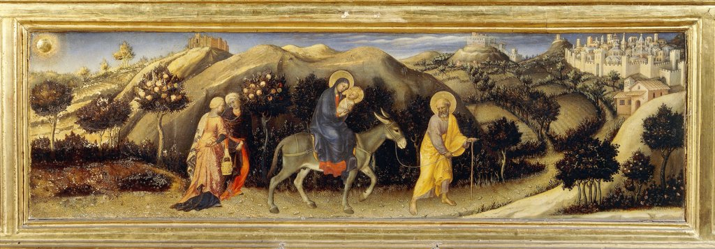 The Flight into Egypt, detail of the predella of the Adoration of the Magi, or Strozzi Altarpiece, 1423, by Gentile da Fabriano (1370-ca 1427), tempera on wood, 203x282 cm. : Stock Photo