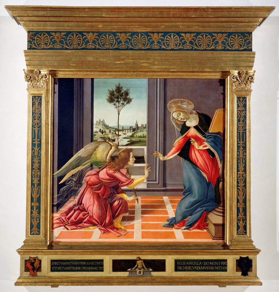 The Annunciation, 1489-1490, by Sandro Botticelli (1445-1510), tempera on wood, 150x156 cm. : Stock Photo