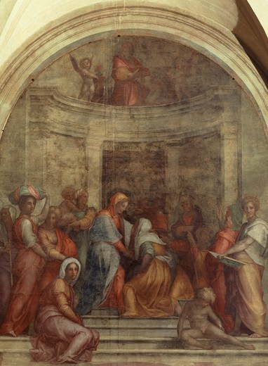 Stock Photo: 1788-49498 The Visitation, 1516, by Giacomo Carucci known as il Pontormo (1494-1557), fresco. Chiostrino dei Voti, Basilica of the Most Holy Annunciation, Florence.