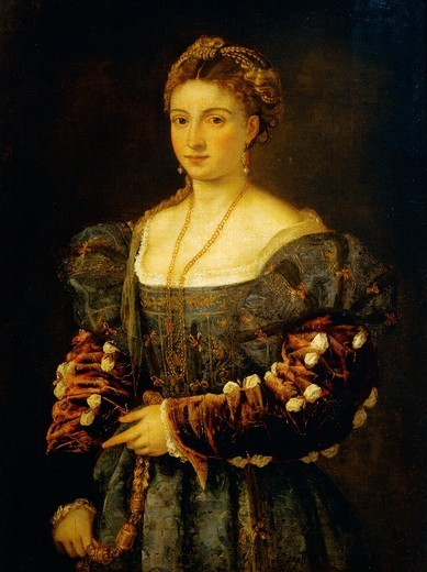 Stock Photo: 1788-49527 La bella (or portrait of a woman), by Titian (ca 1490-1576), oil on canvas, 89x75 cm.