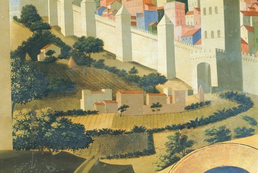 Stock Photo: 1788-49535 View of Jerusalem, detail from The Deposition from the Cross or the Altarpiece of the Holy Trinity, ca 1432, by Giovanni da Fiesole known as Fra Angelico (1400-ca 1455), tempera on wood, 176x185 cm.