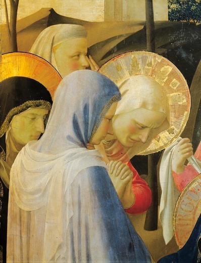 Stock Photo: 1788-49538 The Deposition from the Cross or the Altarpiece of the Holy Trinity, ca 1432, by Giovanni da Fiesole known as Fra Angelico (1400-ca 1455), tempera on wood, 176x185 cm. Detail depicting the holy women.