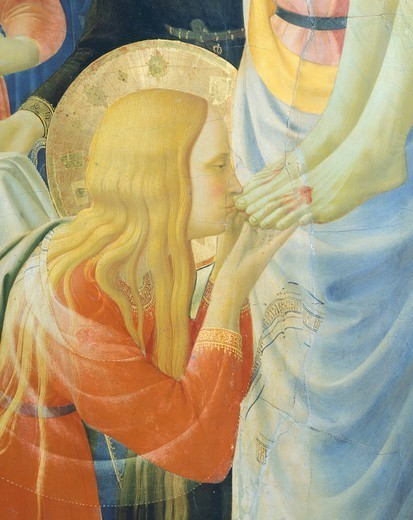 Stock Photo: 1788-49539 Mary Magdalene kissing Jesus' feet, detail from The Deposition from the Cross or the Altarpiece of the Holy Trinity, ca 1432, by Giovanni da Fiesole known as Fra Angelico (1400-ca 1455), tempera on wood, 176x185 cm.