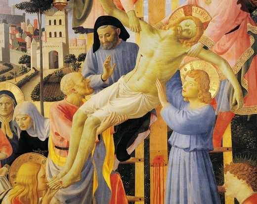 The Deposition from the Cross or the Altarpiece of the Holy Trinity, ca 1432, by Giovanni da Fiesole known as Fra Angelico (1400-ca 1455), tempera on wood, 176x185 cm. Detail. : Stock Photo