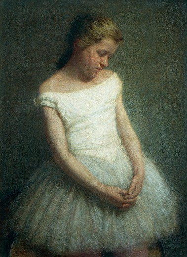 Ballerina (female dancer), by Angelo Morbelli (1853-1919). : Stock Photo
