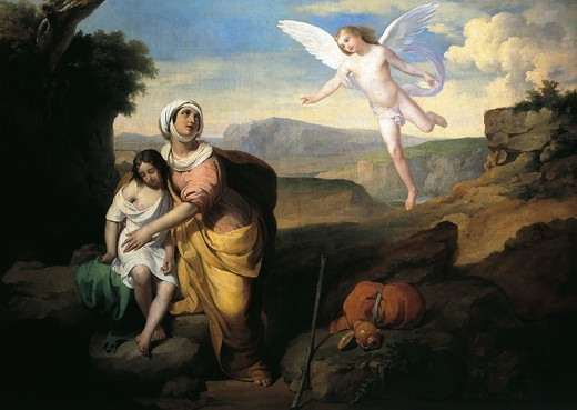 Hagar and Ishmael visited by the angel, ca 1846, by Francesco Coghetti (1804-1875), oil on canvas, 96x132 cm. : Stock Photo